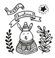 christmas greeting card with rabbit vector image vector image