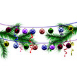 christmas toys on the background of christmas vector image vector image