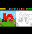 coloring book or pagecute rooster and hen in farm vector image vector image