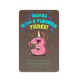 cute birthday candle number character three vector image