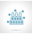 Decorative Xmas pie blue line icon vector image vector image