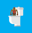 diver from toilet retro underwater diver in wc vector image vector image