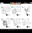 educational cartoon alphabet for kids color book vector image vector image