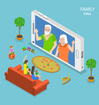 family call flat isometric concept vector image