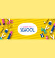 fun back to school 3d papercut kid supplies banner vector image vector image