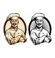 hand drawing chef with crossed arm pose vector image vector image