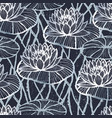 ink hand drawn lotus seamless pattern silver vector image vector image
