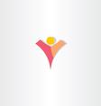 letter v man logo design vector image vector image