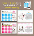 LOVE THE DOG CALENDAR 2015 SET 1 vector image vector image