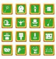 magic icons set green vector image vector image