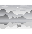 mist mountain reflection lake landscape chinese vector image vector image
