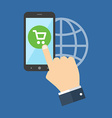 Mobile shopping marketing concept Flat design vector image