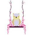 owl swing with flowers vector image