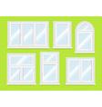 Realistic white plastic windows set vector image vector image