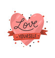 red heart and ribbon with inscription love vector image vector image