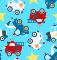 Rescue vehicles seamless pattern vector image