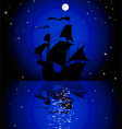 sailboat in the moonlight vector image vector image