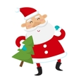 Santa Claus with Christmas tree isolated on white vector image vector image