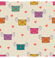 Seamless pattern with post letters Love mail vector image