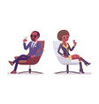 secret agent black man and woman spies relaxing vector image vector image