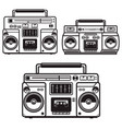 set boombox cassette players design element vector image vector image