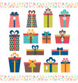 set different gift boxes flat design birthday vector image vector image