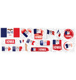 set flags american state iowa vector image
