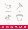 sprout plant watering can and pot icons