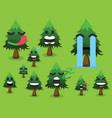 tree icon set cute trees vector image