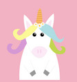 unicorn head face pastel color rainbow hair vector image vector image