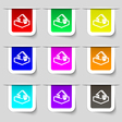 Upload icon sign Set of multicolored modern labels vector image