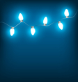 White Christmas lights on blue vector image vector image