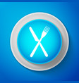 white crossed fork and knife icon restaurant icon vector image vector image