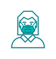 woman face with mask icon vector image