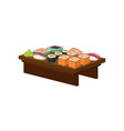 wooden plate with different sushi rolls wasabi vector image