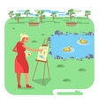 old woman painting on canvas vector image