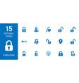 15 padlock icons vector image vector image