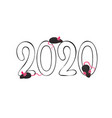 2020 year and mouse isolated on white background vector image