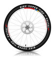 bicycle wheel with a best sports tire on white vector image vector image