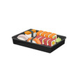 black plastic tray with set of sushi rolls vector image vector image