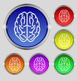 Brain icon sign Round symbol on bright colourful vector image vector image