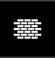 brick wall icon on black background black flat vector image