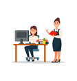 businesswoman standing at her subordinate and vector image vector image