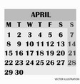 calendar design month april 2019 vector image vector image