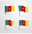 cameroon waving flag set design vector image vector image