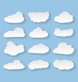 cartoon clouds on blue background vector image vector image
