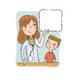 children doctor shows to boy on poster vector image vector image