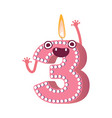 cute birthday candle number character three vector image vector image
