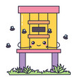 cute kawaii beehive with bees isolated vector image