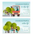 disabled peolple active life banner handicapped vector image vector image